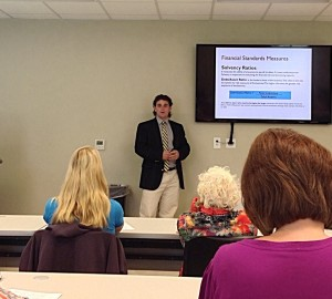Destin Nichols teaching a business finance workshop at Piedmont Tech in Abbeville, South Carolina.